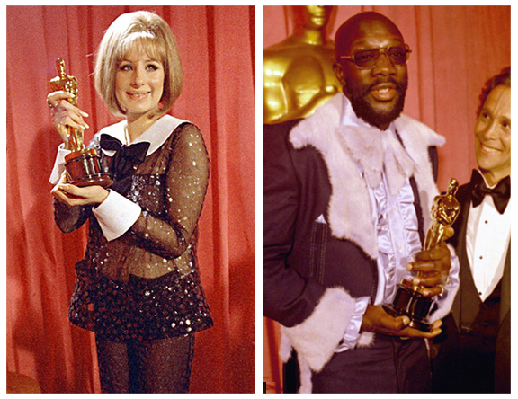 "Barbra Streisand, 1968, in Scassi  ""Pajamas"" Isaac Hayes, 1972, in furry fabulousness"